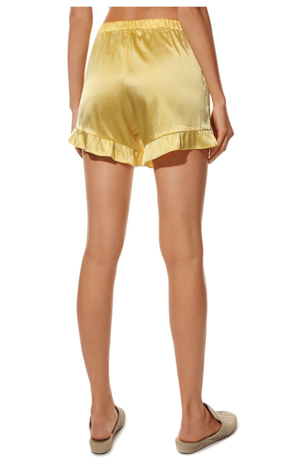 Женская шелковая пижама YOLKE желтого цвета, арт. C0RE-40S-SU-YE | Фото 6 (Материал внешний: Шелк; Длина Ж (юбки, платья, шорты): Мини; Рукава: Короткие; Длина (для топов): Стандартные)
