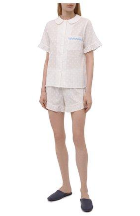 Женская хлопковая пижама YOLKE белого цвета, арт. SS20-40C-CJ-W   Фото 1
