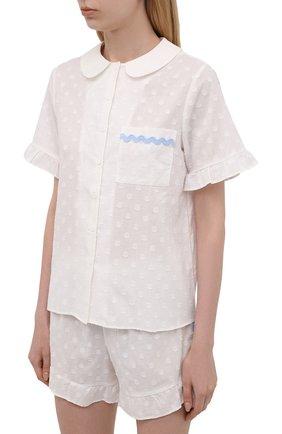 Женская хлопковая пижама YOLKE белого цвета, арт. SS20-40C-CJ-W   Фото 2