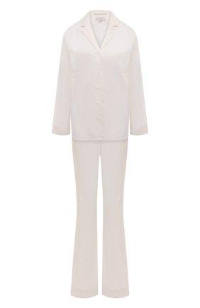 Женская хлопковая пижама YOLKE белого цвета, арт. SS21-02C-CJ-W | Фото 1 (Рукава: Длинные; Длина Ж (юбки, платья, шорты): Мини; Длина (брюки, джинсы): Стандартные; Длина (для топов): Стандартные; Материал внешний: Хлопок)