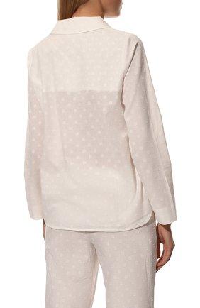 Женская хлопковая пижама YOLKE белого цвета, арт. SS21-02C-CJ-W | Фото 4 (Рукава: Длинные; Длина Ж (юбки, платья, шорты): Мини; Длина (брюки, джинсы): Стандартные; Длина (для топов): Стандартные; Материал внешний: Хлопок)