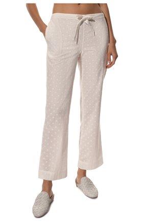 Женская хлопковая пижама YOLKE белого цвета, арт. SS21-02C-CJ-W | Фото 5 (Рукава: Длинные; Длина Ж (юбки, платья, шорты): Мини; Длина (брюки, джинсы): Стандартные; Длина (для топов): Стандартные; Материал внешний: Хлопок)