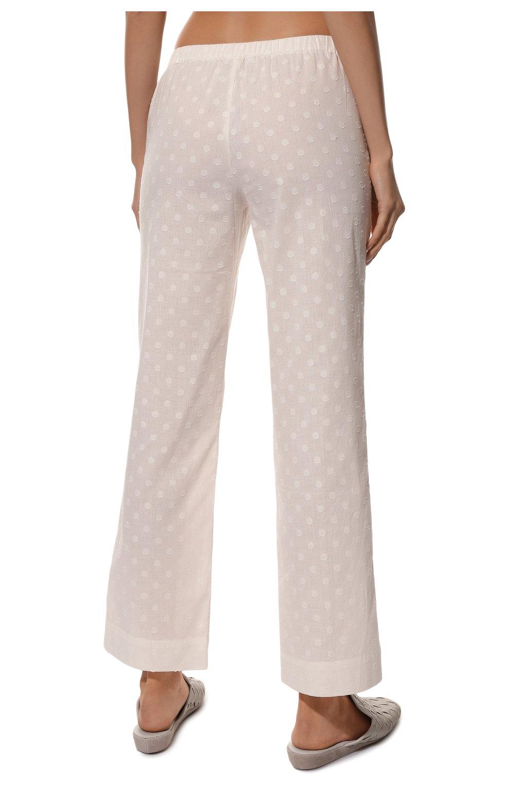 Женская хлопковая пижама YOLKE белого цвета, арт. SS21-02C-CJ-W | Фото 6 (Рукава: Длинные; Длина Ж (юбки, платья, шорты): Мини; Длина (брюки, джинсы): Стандартные; Длина (для топов): Стандартные; Материал внешний: Хлопок)