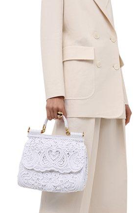 Женская сумка sicily DOLCE & GABBANA белого цвета, арт. BB6002/AW717   Фото 2 (Сумки-технические: Сумки top-handle, Сумки через плечо; Ремень/цепочка: На ремешке; Размер: medium; Материал: Текстиль)