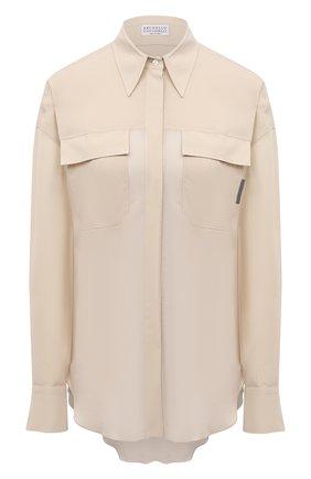 Женская шелковая рубашка BRUNELLO CUCINELLI светло-бежевого цвета, арт. MF962MF116   Фото 1 (Рукава: Длинные; Материал внешний: Шелк; Женское Кросс-КТ: Рубашка-одежда; Принт: Без принта; Стили: Кэжуэл)