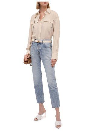 Женская шелковая рубашка BRUNELLO CUCINELLI светло-бежевого цвета, арт. MF962MF116   Фото 2 (Рукава: Длинные; Материал внешний: Шелк; Женское Кросс-КТ: Рубашка-одежда; Принт: Без принта; Стили: Кэжуэл)