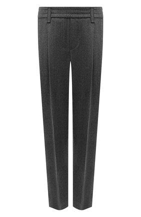 Женские шерстяные брюки BRUNELLO CUCINELLI серого цвета, арт. ME226P7811 | Фото 1 (Материал внешний: Шерсть; Длина (брюки, джинсы): Стандартные; Силуэт Ж (брюки и джинсы): Прямые; Стили: Кэжуэл; Женское Кросс-КТ: Брюки-одежда)