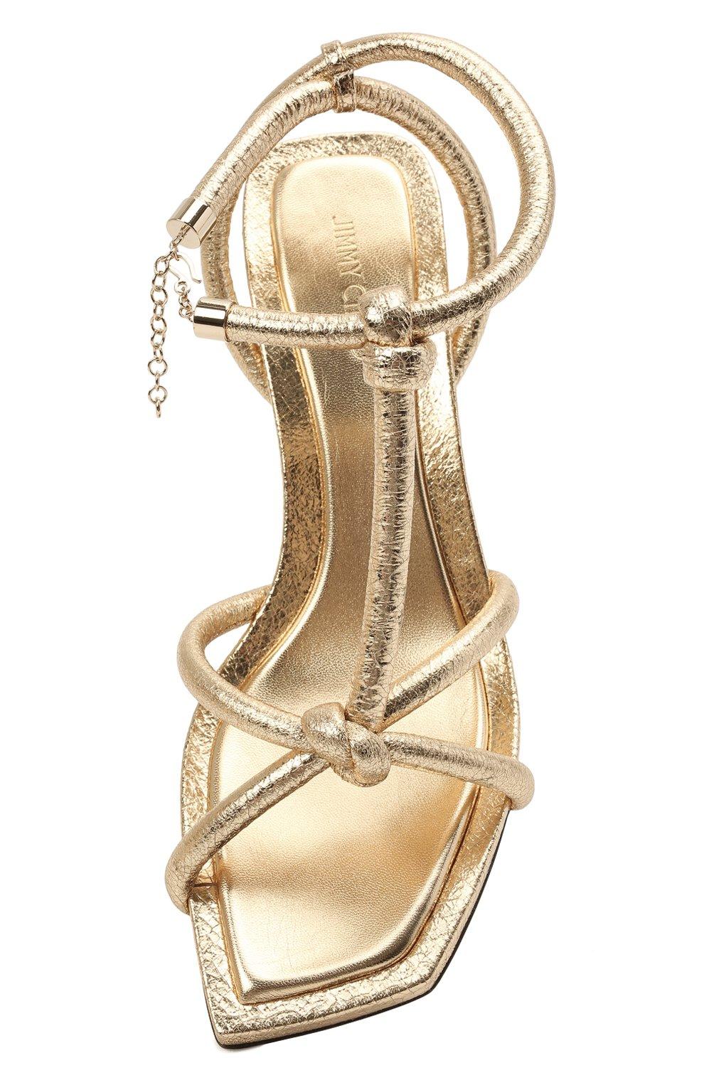 Женские кожаные босоножки fort 50 JIMMY CHOO золотого цвета, арт. F0RT 50/CTH   Фото 5