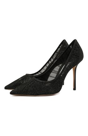 Женские текстильные туфли love 100 JIMMY CHOO черного цвета, арт. L0VE 100/ZYD | Фото 1