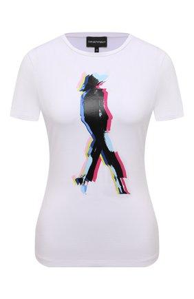 Женская хлопковая футболка EMPORIO ARMANI белого цвета, арт. 6K2T6E/2JQAZ   Фото 1