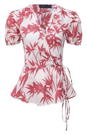 Женская льняная блузка POLO RALPH LAUREN розового цвета, арт. 211838913   Фото 1 (Длина (для топов): Стандартные; Материал внешний: Лен; Женское Кросс-КТ: Блуза-одежда; Рукава: Короткие; Стили: Романтичный; Принт: С принтом)