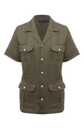 Женская льняная рубашка POLO RALPH LAUREN хаки цвета, арт. 211838912 | Фото 1 (Длина (для топов): Стандартные; Рукава: Короткие; Материал внешний: Лен; Женское Кросс-КТ: Рубашка-одежда; Принт: Без принта; Стили: Милитари)