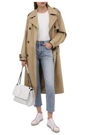 Женские кожаные кеды sl/39 SAINT LAURENT белого цвета, арт. 653489/00NI2 | Фото 2 (Материал внутренний: Натуральная кожа; Подошва: Платформа; Кросс-КТ: хайтопы)