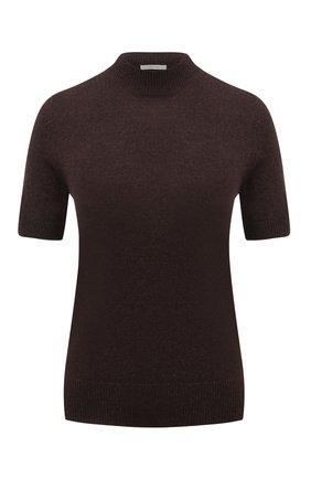 Женский кашемировый пуловер THE ROW темно-коричневого цвета, арт. 5682F377 | Фото 1 (Материал внешний: Шерсть, Кашемир; Рукава: Короткие; Длина (для топов): Стандартные; Женское Кросс-КТ: Пуловер-одежда; Стили: Кэжуэл)
