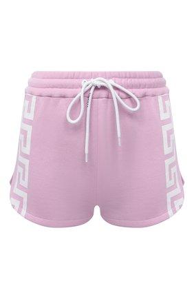 Женские хлопковые шорты VERSACE розового цвета, арт. 1001565/1A01174 | Фото 1 (Материал внешний: Хлопок; Стили: Спорт-шик; Длина Ж (юбки, платья, шорты): Мини; Женское Кросс-КТ: Шорты-одежда; Кросс-КТ: Трикотаж)