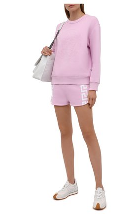 Женские хлопковые шорты VERSACE розового цвета, арт. 1001565/1A01174 | Фото 2 (Материал внешний: Хлопок; Стили: Спорт-шик; Длина Ж (юбки, платья, шорты): Мини; Женское Кросс-КТ: Шорты-одежда; Кросс-КТ: Трикотаж)