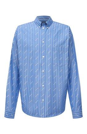 Мужская хлопковая рубашка BALENCIAGA голубого цвета, арт. 662983/TGLB9 | Фото 1