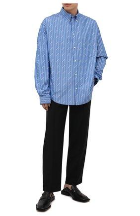 Мужская хлопковая рубашка BALENCIAGA голубого цвета, арт. 662983/TGLB9 | Фото 2