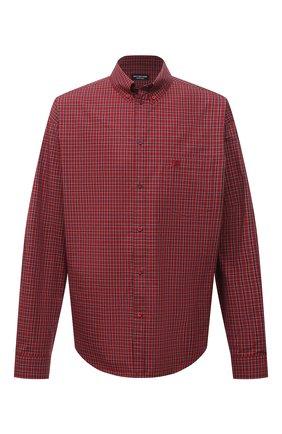 Мужская хлопковая рубашка BALENCIAGA красного цвета, арт. 658929/TKM38 | Фото 1