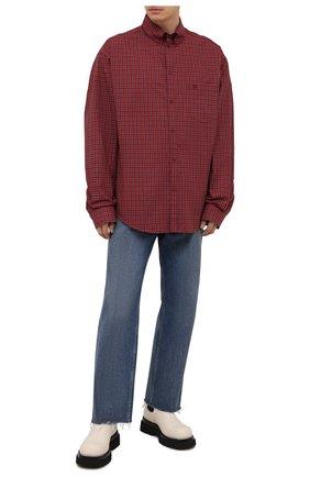 Мужская хлопковая рубашка BALENCIAGA красного цвета, арт. 658929/TKM38 | Фото 2