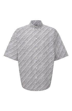 Мужская хлопковая рубашка BALENCIAGA черно-белого цвета, арт. 647354/TKL40 | Фото 1 (Воротник: Button down; Рукава: Короткие; Случай: Повседневный; Длина (для топов): Стандартные; Стили: Гранж; Принт: С принтом; Материал внешний: Хлопок)