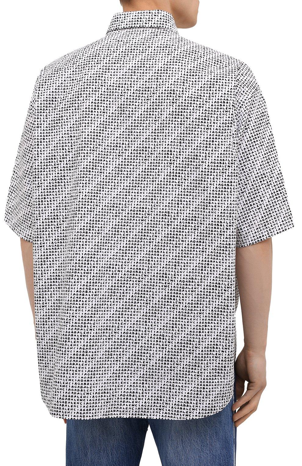Мужская хлопковая рубашка BALENCIAGA черно-белого цвета, арт. 647354/TKL40 | Фото 4 (Воротник: Button down; Рукава: Короткие; Случай: Повседневный; Длина (для топов): Стандартные; Стили: Гранж; Принт: С принтом; Материал внешний: Хлопок)