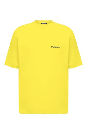 Мужская хлопковая футболка BALENCIAGA желтого цвета, арт. 612966/TIVG5 | Фото 1 (Материал внешний: Хлопок; Длина (для топов): Укороченные; Стили: Спорт-шик, Гранж; Рукава: Короткие; Принт: С принтом)