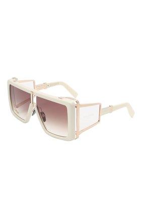 Женские солнцезащитные очки BALMAIN кремвого цвета, арт. BPS-107D-61 | Фото 1 (Тип очков: С/з; Очки форма: Over-size)