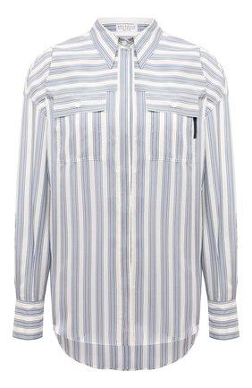 Женская шелковая рубашка BRUNELLO CUCINELLI голубого цвета, арт. MP915MF116 | Фото 1 (Материал внешний: Шелк; Принт: Полоска, С принтом; Рукава: Длинные; Женское Кросс-КТ: Рубашка-одежда; Стили: Кэжуэл; Длина (для топов): Удлиненные)