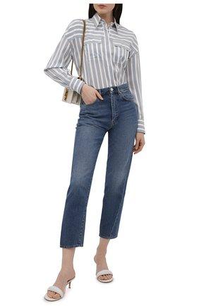 Женская шелковая рубашка BRUNELLO CUCINELLI голубого цвета, арт. MP915MF116 | Фото 2 (Материал внешний: Шелк; Принт: Полоска, С принтом; Рукава: Длинные; Женское Кросс-КТ: Рубашка-одежда; Стили: Кэжуэл; Длина (для топов): Удлиненные)