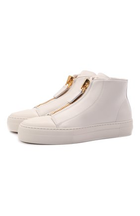 Женские кожаные кеды TOM FORD белого цвета, арт. W2880T-LCL057 | Фото 1 (Материал внутренний: Натуральная кожа, Текстиль; Подошва: Платформа; Кросс-КТ: хайтопы)