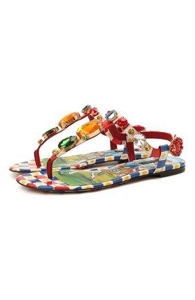 Женские кожаные сандалии infradito DOLCE & GABBANA разноцветного цвета, арт. CQ0294/AJ744 | Фото 1 (Материал внутренний: Натуральная кожа; Каблук высота: Низкий; Подошва: Плоская)