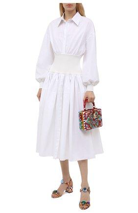 Женские кожаные босоножки keira DOLCE & GABBANA разноцветного цвета, арт. CR0906/AJ744 | Фото 2 (Материал внутренний: Натуральная кожа; Каблук высота: Средний; Каблук тип: Устойчивый; Подошва: Плоская)