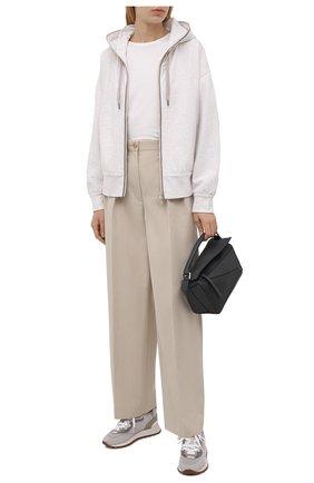 Женский хлопковый кардиган BRUNELLO CUCINELLI кремвого цвета, арт. MN05NFD106 | Фото 2 (Длина (для топов): Стандартные; Материал внешний: Хлопок; Женское Кросс-КТ: Кардиган-одежда, Толстовка-одежда; Стили: Спорт-шик; Рукава: Длинные)