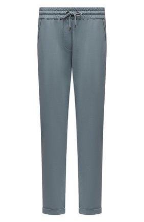 Женские хлопковые брюки BRUNELLO CUCINELLI голубого цвета, арт. MH827SA399 | Фото 1 (Материал внешний: Хлопок; Силуэт Ж (брюки и джинсы): Прямые; Стили: Спорт-шик, Кэжуэл; Женское Кросс-КТ: Брюки-одежда, Брюки-спорт; Длина (брюки, джинсы): Укороченные; Кросс-КТ: Трикотаж)