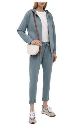 Женский хлопковая толстовка BRUNELLO CUCINELLI голубого цвета, арт. MH827SA306 | Фото 2 (Материал внешний: Хлопок; Длина (для топов): Стандартные; Женское Кросс-КТ: Толстовка-одежда, Кардиган-одежда; Рукава: Длинные; Стили: Спорт-шик)