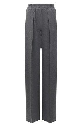 Женские хлопковые брюки BRUNELLO CUCINELLI темно-серого цвета, арт. MH827P7704 | Фото 1 (Длина (брюки, джинсы): Удлиненные; Материал внешний: Хлопок; Силуэт Ж (брюки и джинсы): Прямые; Женское Кросс-КТ: Брюки-одежда; Стили: Кэжуэл)