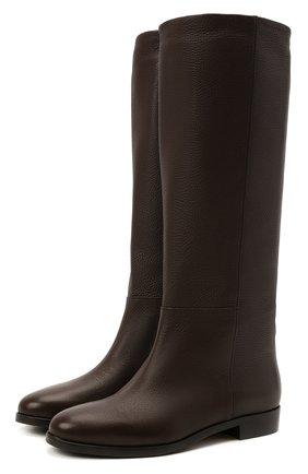Женские кожаные сапоги KITON коричневого цвета, арт. D52801X04R81 | Фото 1 (Высота голенища: Средние; Материал внутренний: Натуральная кожа; Подошва: Плоская; Каблук высота: Низкий; Каблук тип: Устойчивый)