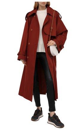 Женские текстильные кроссовки BRUNELLO CUCINELLI темно-серого цвета, арт. MZ34G2002P | Фото 2 (Материал внутренний: Текстиль, Натуральная кожа; Подошва: Платформа; Материал внешний: Текстиль)