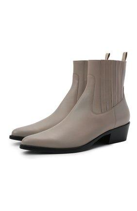 Женские кожаные ботильоны GIORGIO ARMANI серого цвета, арт. X1N142/XF565 | Фото 1 (Материал внутренний: Натуральная кожа; Каблук высота: Низкий; Подошва: Плоская; Каблук тип: Устойчивый)