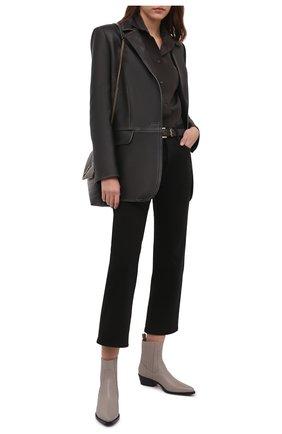 Женские кожаные ботильоны GIORGIO ARMANI серого цвета, арт. X1N142/XF565 | Фото 2 (Материал внутренний: Натуральная кожа; Каблук высота: Низкий; Подошва: Плоская; Каблук тип: Устойчивый)