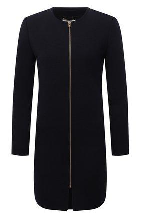 Женское шерстяное платье SAINT LAURENT темно-синего цвета, арт. 657656/Y288V | Фото 1 (Материал внешний: Шерсть; Случай: Формальный; Рукава: Длинные; Длина Ж (юбки, платья, шорты): Мини; Материал подклада: Шелк; Женское Кросс-КТ: Платье-одежда; Стили: Гламурный)