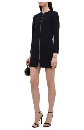 Женское шерстяное платье SAINT LAURENT темно-синего цвета, арт. 657656/Y288V | Фото 2 (Материал внешний: Шерсть; Случай: Формальный; Рукава: Длинные; Длина Ж (юбки, платья, шорты): Мини; Материал подклада: Шелк; Женское Кросс-КТ: Платье-одежда; Стили: Гламурный)