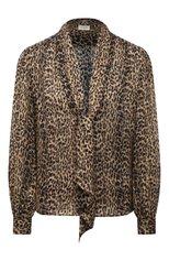 Женская шелковая блузка SAINT LAURENT леопардового цвета, арт. 652907/Y5C26   Фото 1
