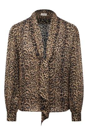 Женская шелковая блузка SAINT LAURENT леопардового цвета, арт. 652907/Y5C26 | Фото 1