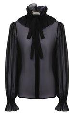 Женская шелковая блузка SAINT LAURENT черного цвета, арт. 650245/Y115W   Фото 1