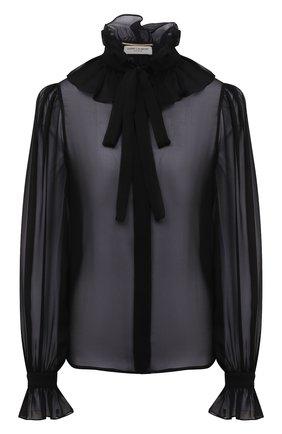 Женская шелковая блузка SAINT LAURENT черного цвета, арт. 650245/Y115W | Фото 1 (Рукава: Длинные; Длина (для топов): Стандартные; Материал внешний: Шелк; Женское Кросс-КТ: Блуза-одежда; Принт: Без принта; Стили: Романтичный)