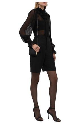 Женская шелковая блузка SAINT LAURENT черного цвета, арт. 650245/Y115W | Фото 2 (Рукава: Длинные; Длина (для топов): Стандартные; Материал внешний: Шелк; Женское Кросс-КТ: Блуза-одежда; Принт: Без принта; Стили: Романтичный)
