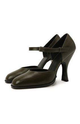 Женские кожаные туфли mary jane THE ROW хаки цвета, арт. F1195-L35 | Фото 1