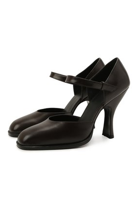 Женские кожаные туфли mary jane THE ROW темно-коричневого цвета, арт. F1195-L35 | Фото 1
